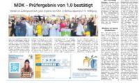 Wieder ein außergewöhnlich gutes Ergebnis des MDK im Betreuungszentrum St. Wolfgang